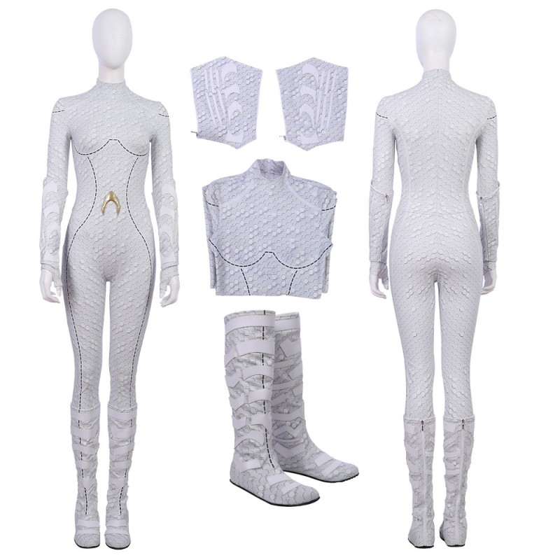 2018 Aquaman Queen Atlanna Cosplay Costume White Jumpsuit