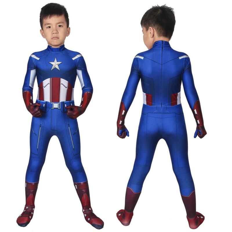 Avengers Captain America Steven Rogers Cosplay Jumpsuit for Kids