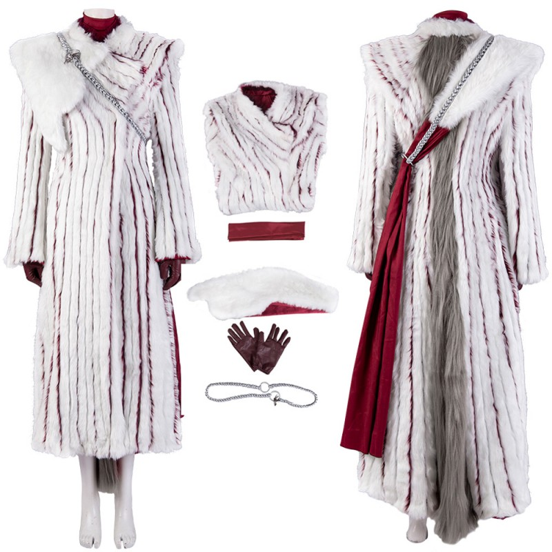 Daenerys Targaryen Cosplay Costume Game of Thrones S7 White Plush Cosplay Suit