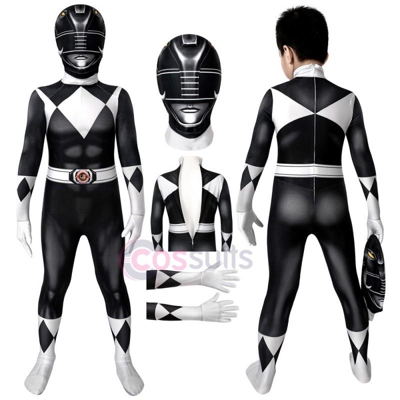 Power Rangers Kids Costume Mighty Morphin Power Rangers Goushi Mammoth Ranger Black Cosplay Jumpsuit