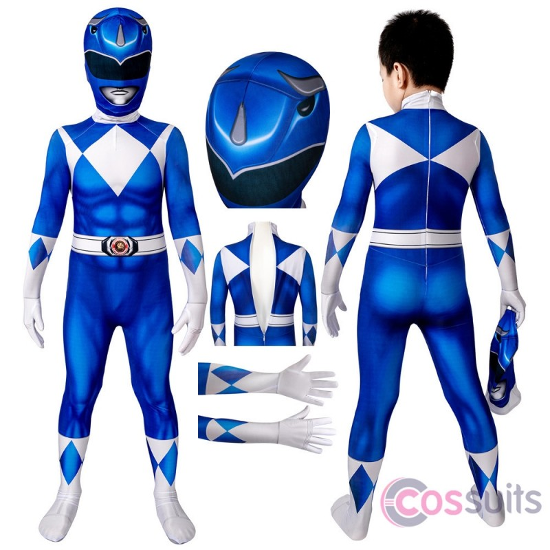 Power Rangers Kids Costume Power Rangers Billy Blue Ranger Cosplay Jumpsuit