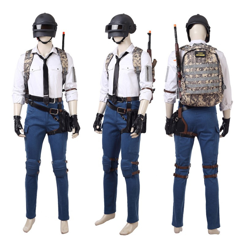 PUBG Cosplay Costume Playerunknown's Battlegrounds With Level 3 Helmet Backpack