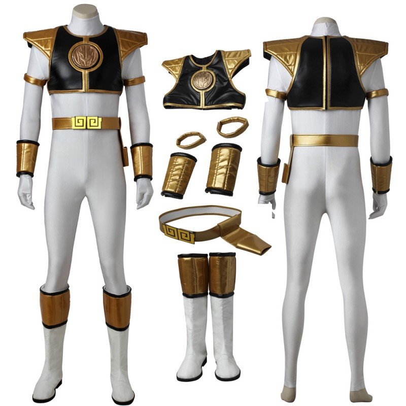 Tommy Oliver Costume Mighty Morphin Power Rangers White Ranger Cosplay Costume