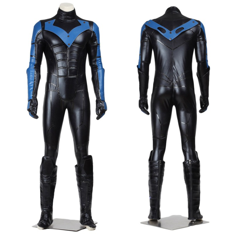 Batman Arkham City Nightwing Cosplay Costume Jumpsuit with Eye Mask