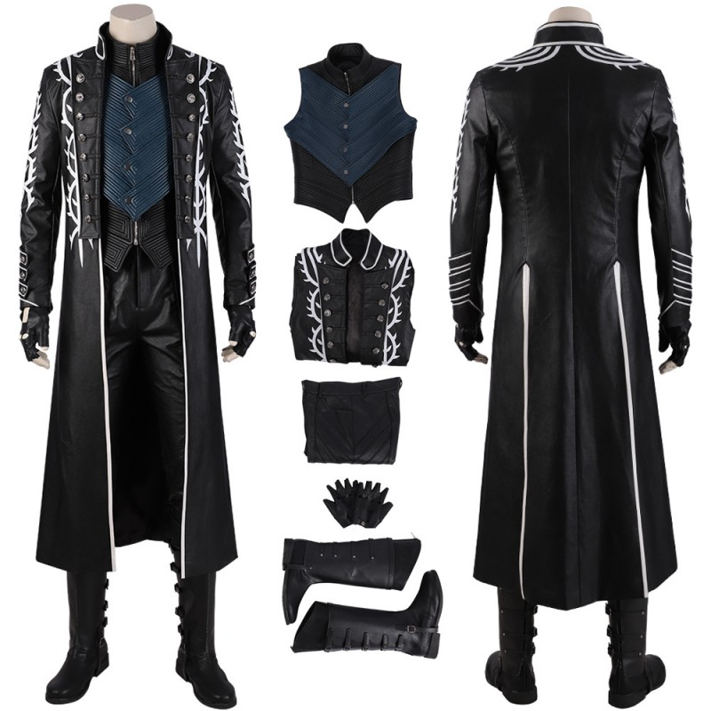 Vergil Cosplay Costume Devil May Cry 5 Vergil Black Trench Coat