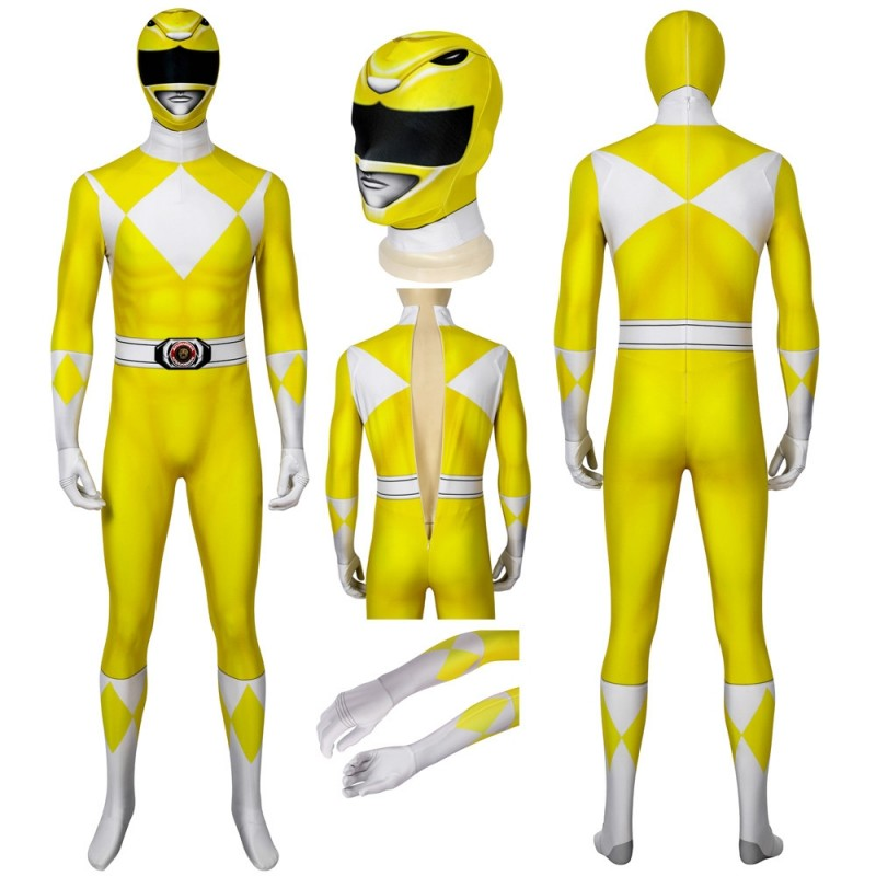 Yellow Mighty Morphin Suit Power Rangers Cosplay Costume