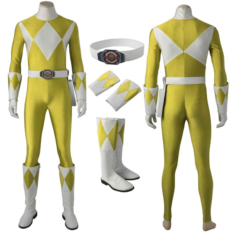 Yellow Ranger Cosplay Costume Mighty Morphin Power Rangers Cosplay Suit