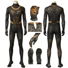 Black Panther Erik Killmonger Jumpsuit Golden Jaguar Cosplay Costume