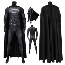Justice League Superman Clark Kent Black Jumpsuit With Cape