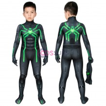 Kids Spider-man Green Costume Spiderman PS4 Stealth Big Time Cosplay Suit