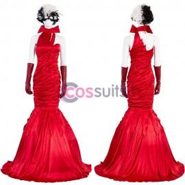 Cruella De Vil Cosplay Costume Emma Stone Red Dress With Wig