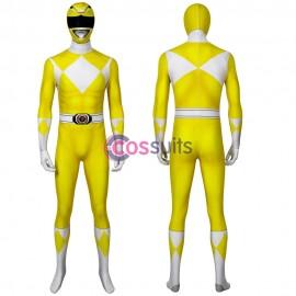 Yellow Mighty Morphin Suit Power Rangers Cosplay Costume
