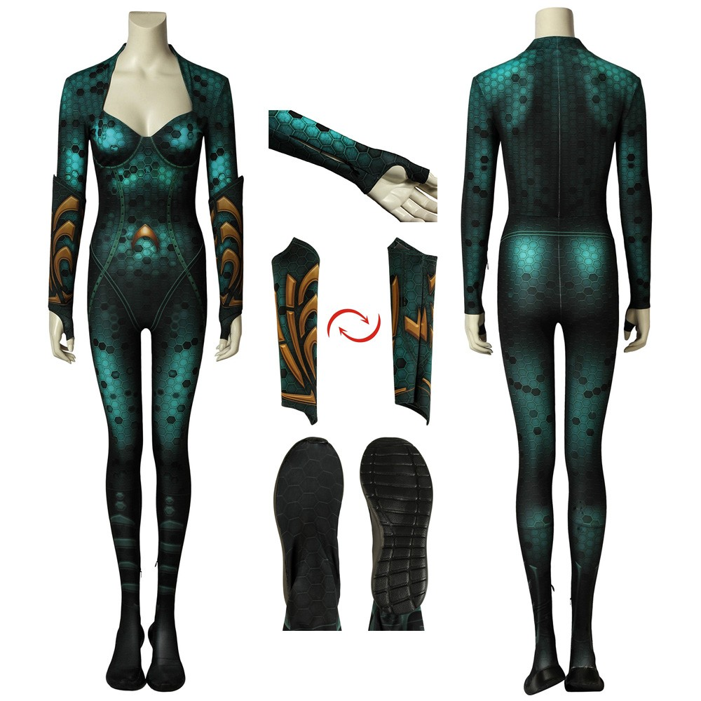 Movie Aquaman Queen Mera Jumpsuit Cosplay Costume