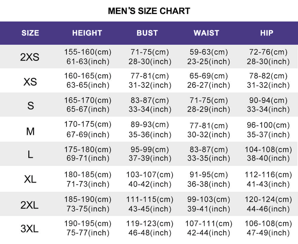 cosplay mens size chart