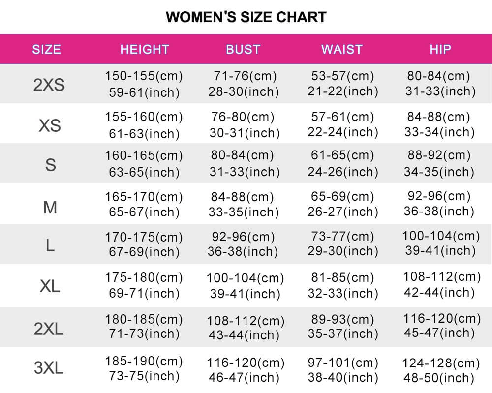 cosplay womens size chart
