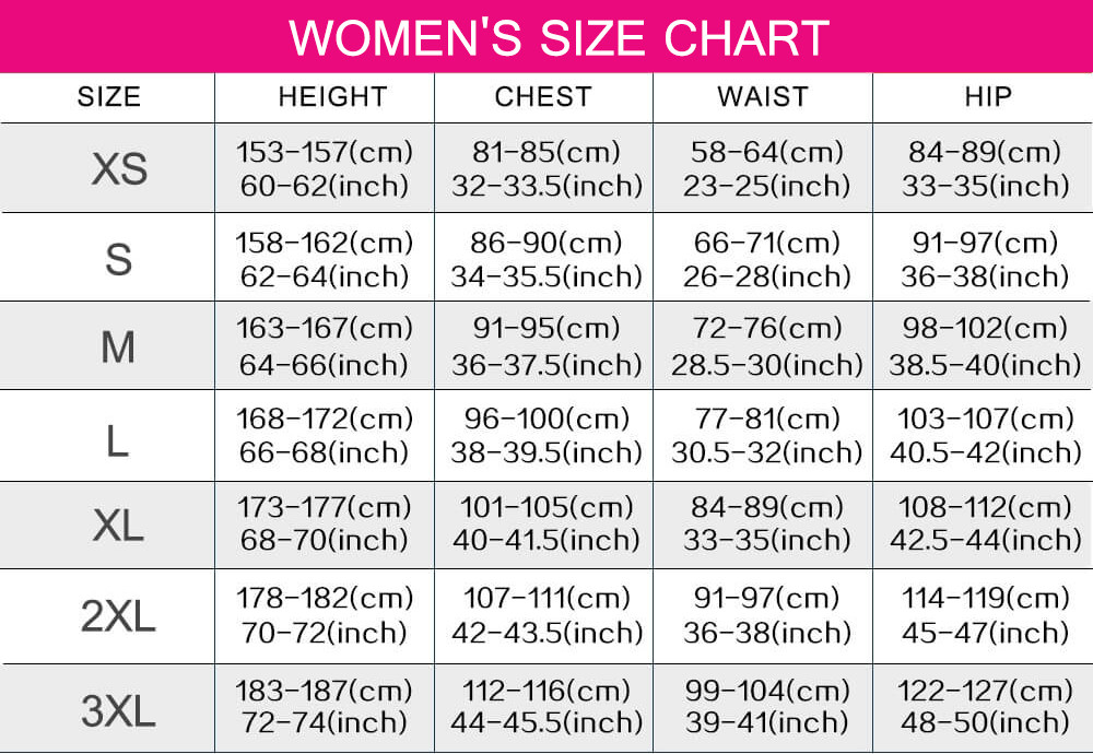 cosplay costumes women size chart